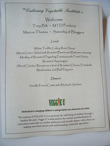 Lunch menu at Culinary Vegetable Institute