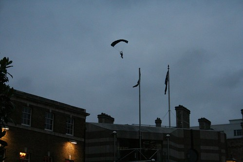 Parachutist not quite coming into land
