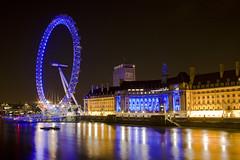 London Eye from Westminster Bridge (Jonathan.Russell) Tags: bridge light sky london eye water westminster wheel thames canon buildings river landscape long exposure shutter panorma jdr 40d