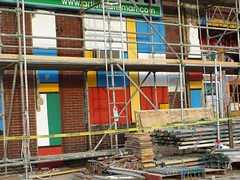 Construction at artist craftsman (rjknits) Tags: blue red green redbrick cautiontape ps5 projectspectrum cmongethappy