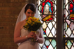 Smell of Love (dbushue) Tags: flowers wedding church bride stainedglass smell bouquet 2011