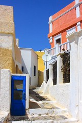 Pathway @ Pyrgos (Vlad - New York) Tags: blue sea white history church archaeology lamp colors up shop stairs lights ancient doors arch hill religion down santorini greece monuments oia thira fira