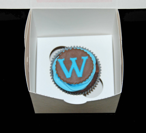 monogram cupcake brown and blue