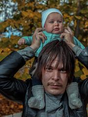 father and daughter (sami kuosmanen) Tags: syksy suomi autumn kouvola kuusankoski people metsä man mies tree tyttö lapsi baby luonto light long hair small bokeh