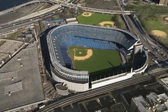 Yankee Stadium. (Passive Income Dream.com) Tags: city nyc newyorkcity travel vacation urban usa newyork color colour building tourism sports field horizontal architecture outdoors team unitedstates image baseball stadium bronx empty aerialview nobody landmark structure architectural photograph vacant northamerica americana recreation yankees birdseyeview yankeestadium ballpark newyorkyankees viewfromabove highangle baseballdiamond americanleague historicsite baseballteam majorleaguebaseball majorleague sportsevent sportsteam sportsandrecreation professionalsport