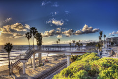 T-Street (Didenze) Tags: bridge light sunset sky beach clouds golden crossing traintracks sanclemente sunbeam hdr goldenhour tstreet canon450d featuredonadidapcom didenze