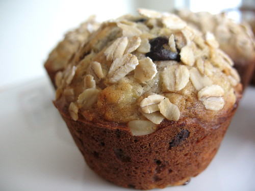 Banana Oatmeal Chocolate Chip Muffins ~ Chasing Tomatoes
