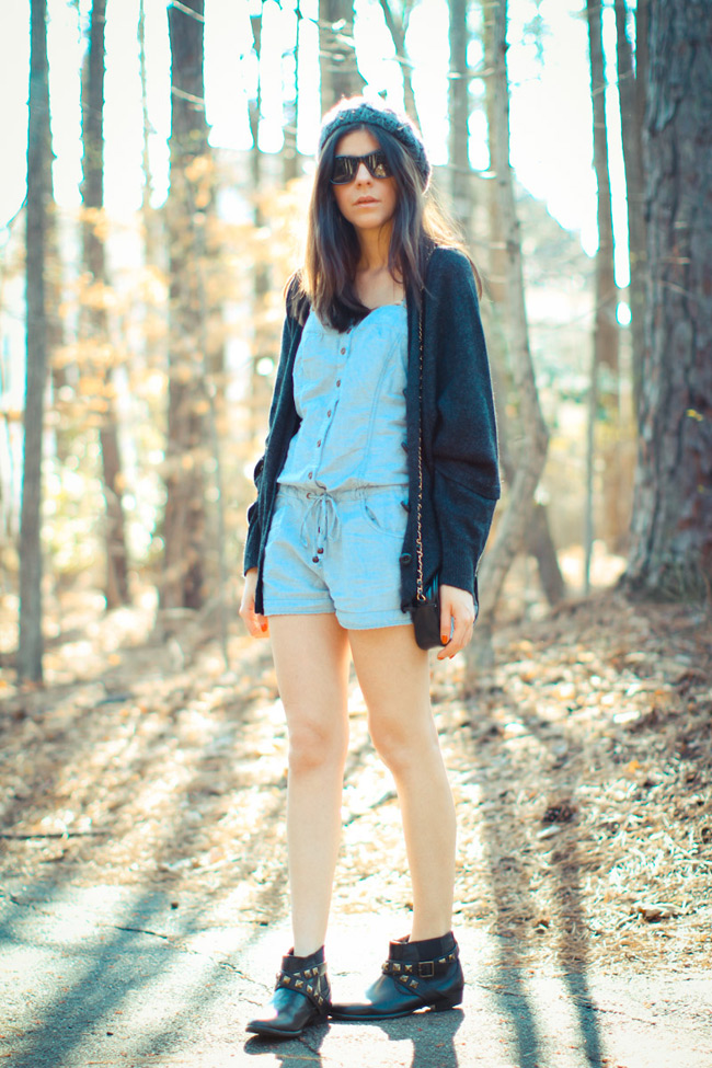 Asos, Forever 21, Chambray romper, studded ankle boots, Cowboy boots