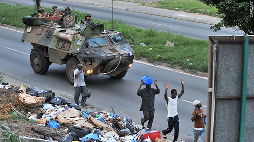 A French military tank patrols the streets of the main city in the West African state of Ivory Coast. Paris is backing the rebel leader Alassane Ouattara who is attempting to oust incumbent President Laurent Gbagbo. by Pan-African News Wire File Photos