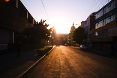 Calle de Toluca (David A Córdova M) Tags: light sun tractor luz sol mexico photography photo calle foto shot sony picture catedral ciudad amanecer camion cielo fotografia alpha amateur toluca claroscuro sunrice davidcordova deividcordova