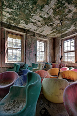 synesthesia ward (rustyjaw) Tags: windows abandoned colors chairs decay falling hues asylum dangle hdr lightfixture psychiatrichospital corrode plasticchairs kirkbride bubblechairs newjerseystatehospital