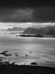 Never get inside (henrikj) Tags: ocean lighting light sea bw mountain storm mountains nature water ecology silhouette norway backlight clouds dark coast scenery europe july fav20 atlantic mount explore coastal land environment backlit scandinavia 2008 lofoten environmentalism atlanticocean looming 07 ecosystem fav10 kleppstadsheia henningsvaerstraumen