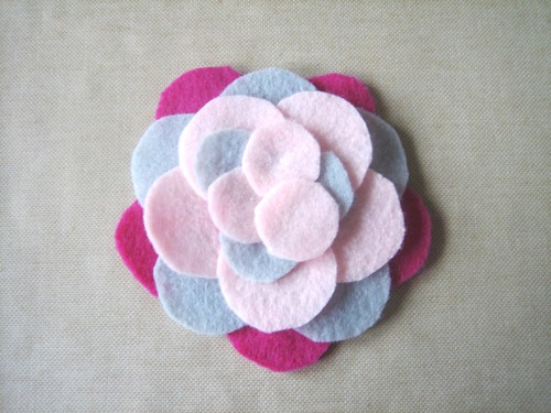 "Felt Flower Brooch - 1"" Circles Layer 2"