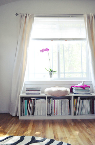 white silk curtains + purple orchid + window