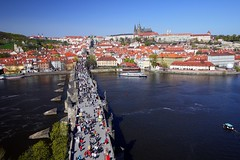 Karlv most (Charles Bridge) (radimersky) Tags: old city bridge tower castle river boats lumix town spring europa europe cityscape republic view czech prague capital prag charles praha praga hradschin panasonic most filter bohemia vltava hrad hradany widok wiosna miasto strana prager filtr karlv mal polarizing rzeka czechy 14mm gf1 stolica prask karlsbrcke ladnscape kleinseite odzie hradczany wetawa polaryzacyjny weduta