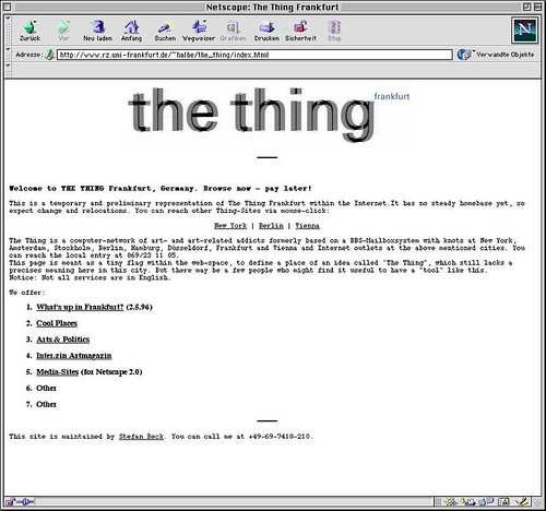 Thing Frankfurt Screenshot 1996 dargestellt in Netscape 4.7