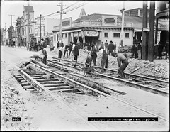 U00920 (SFMTA Photo Archives) Tags: sanfrancisco california usa workers construction publictransportation destruction transportation glassplatenegative sfmta reconstructionconstruction unitedrailroadsofsanfrancisco trackstransitsystemelements sanfranciscoearthquakeandfirecalif1906