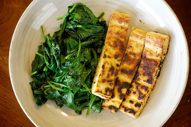 Spinach and Fried Tofu