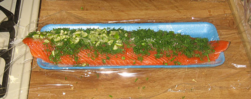 Gravlax in progress: all toppings