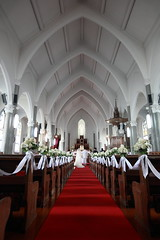 Cathedral (Apricot Cafe) Tags: japan kanagawa神奈川 yokohama横浜 sacredheartcathedralyokohamaカトリック山手教会 weddingceremony結婚式 canonef1635mmf28liiusm wedding church bride groom couple smiling cheerful happiness beauty weddingdress white portrait love youngadult romance female male lifestyle japanese asian modelreleasereadybrideandgroom