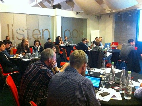 Attendees and checkpoint helpers at Making (and Saving) Money With Open Data event