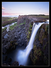 xrrfoss - Thingvellir - Iceland (Arnar Bergur) Tags: blue summer green water grass clouds canon river waterfall iceland rocks stones cliffs arnar thingvellir ingvellir sland xrfoss visipix