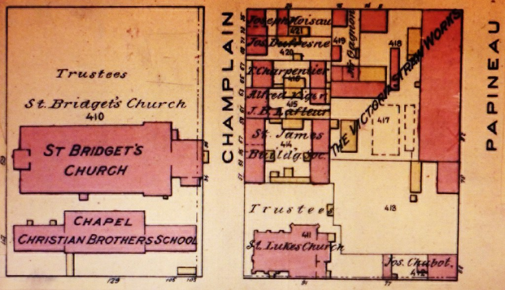 Montréal 1890. Secteur rues Dorchester, Champlain et ave. Papineau.