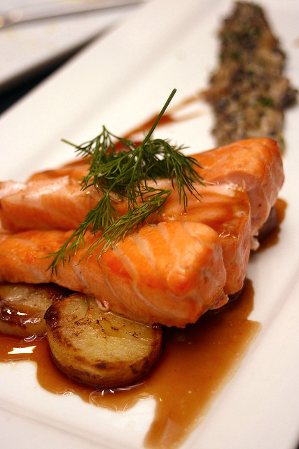 Signature House-smoked Salmon with stewed morels, fingerling potatoes and dark dill sauce