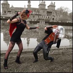 Battle between Evil and Evil (ShuReD!) Tags: scene fantasy duotone engel rood zwart meisje eff haarzuilens grijs jongen duivel 2011 jildou