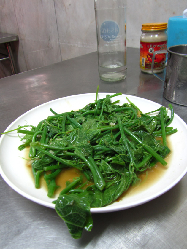Stir fried bitter melon leaves (pad pak yot mala ผัดยอดมะระ)