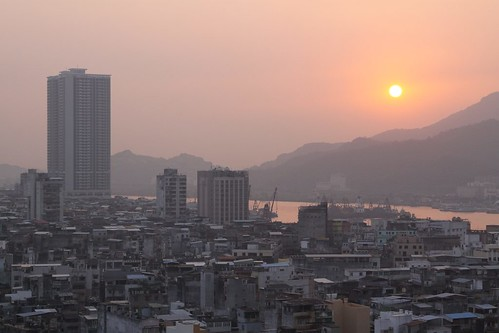 Sun goes down over Macau, with China only a short swim across the river