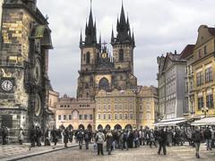OLD TOWN SQUARE, PRAGUE (johnmax6960) Tags: clock square prague czechrepublic cobbles oldtownsquare hdr easterneurope hdrsingleraw
