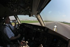 Holding in position for a cleanup on Runway 09R. (Fly For Fun) Tags: bird london water canon bottle heathrow jet cleanup cockpit fisheye airline boeing runway lufthansa 15mm pilot 757 9r