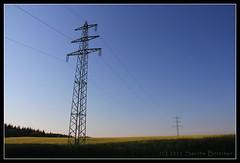 Electricity pylons (boettcher.photography) Tags: blue moon field germany deutschland mond heaven feld electricitypylon strommast sashahasha strommste