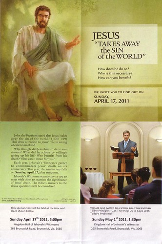 Flyer from the local Jehovah's Witnesses