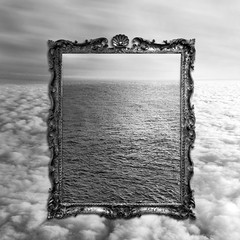 Jealous Sky (Adamo Photography) Tags: ocean shadow sky blackandwhite bw cloud sun black reflection art water photomanipulation photoshop sunrise dark photography gold golden eva waves shadows artistic ripple surrealism cassidy sting horizon dream picture surreal clam symmetry ciel frame dreams surrealist 365 conceptual nuages ideas dreamland jealous dreamscapes renemagritte concepts fieldsofgold renémagritte jerryuelsmann hangingpicture inhisjealoussky jealoussky