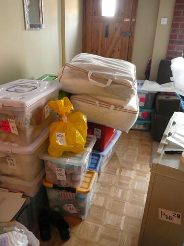 Boxes near door
