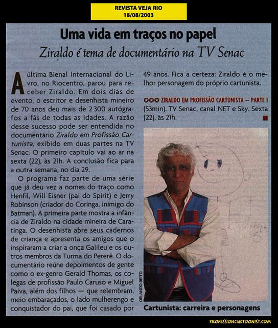 """""""Uma vida em traços no papel"""" - Revista Veja Rio - 18/08/2003"""