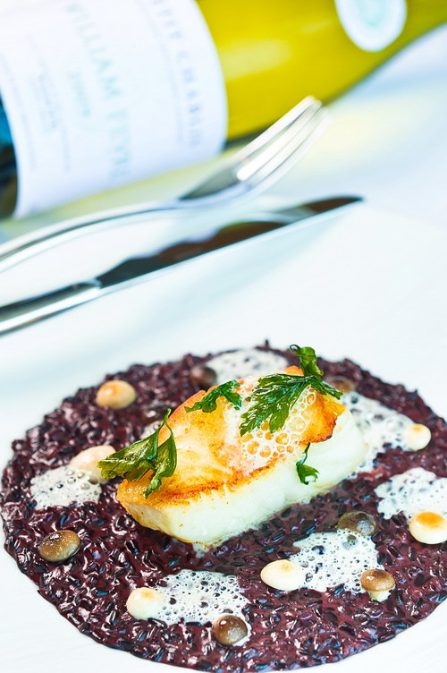 Risotto 'vénéré' with slow baked cod fish, Champagne smoothie