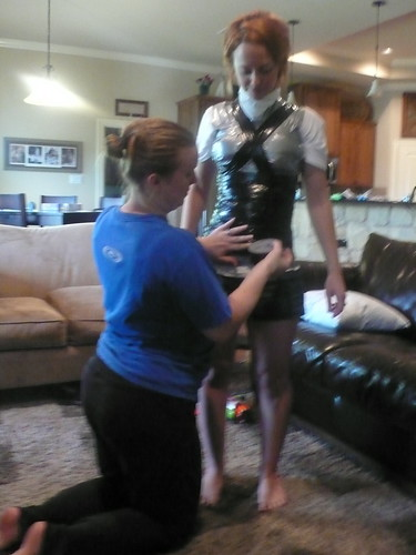 My friend Lisa, helping me to create a duct-tape dress form