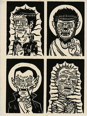universal faith (Iain Burke) Tags: school film illustration religious design graphicdesign spring christ graphic jesus dracula frankenstein horror printmaking movies monsters universal mummy frankensteinsmonster guadalupe universalstudios creatures figures parsons wolfman beasts woodcut iconography votive jesuschrist newschool 2011 universalmonsters religiousfigures ladyguadalupe iainburke octopocalypse