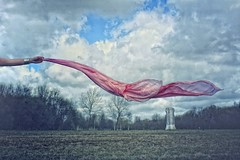 Don't Let Go (Laine Apine) Tags: pink trees clouds scarf spring holding hand wind meadow silk windy precious