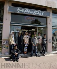 Les riders avec l'équipe du shop