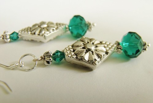 http://www.etsy.com/listing/73603002/dangling-turquoise-blue-crystal-earrings by mSs Distinctive Designs Studio