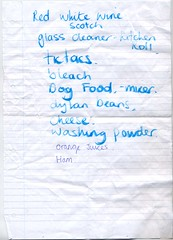 Shopping list (henry) Tags: red orange dog white dylan kitchen glass cheese beans wine mixer bleach ham powder roll feed scotch juices cleaner washing shoppinglist tictcs