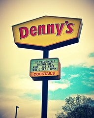 Roadside Denny's sign () Tags: food usa classic sign skyline kids breakfast dinner america lunch restaurant photo washington state pacific northwest image united meals picture free diner spoon retro grease chain nostalgia eat fries american nostalgic americana states value lakewood cocktails dennys fried vignette symbolic specials omelets