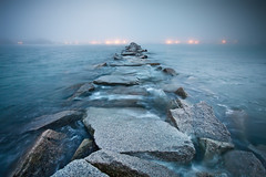 Fog in Scituate Harbor (chris lazzery) Tags: fog harbor dusk massachusetts scituate canonef1740mmf4l 5dmarkii