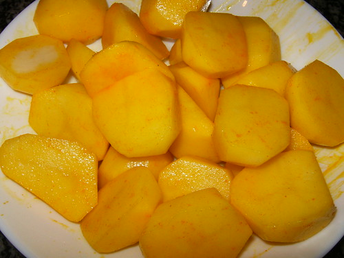 Rabo de ternera-azafran patatas