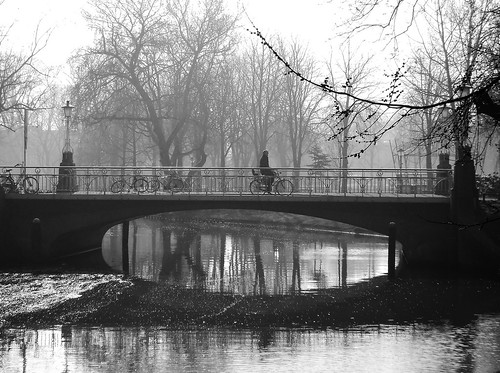 morning cyclist in Utrecht