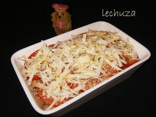 Pasta con champiñones-queso